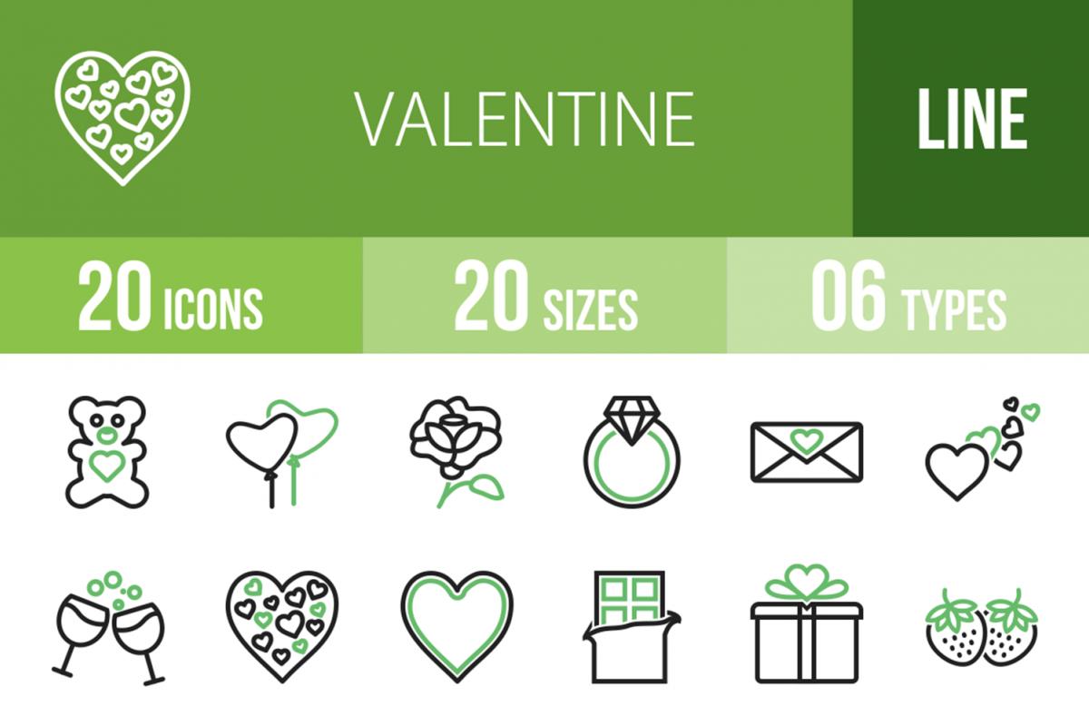 20 Valentine Line Green & Black Icons example image 1
