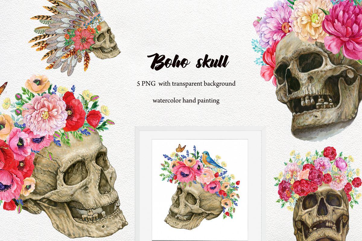 Skulls with flowers .Boho style Skull Clipart. Halloween wat example image 1