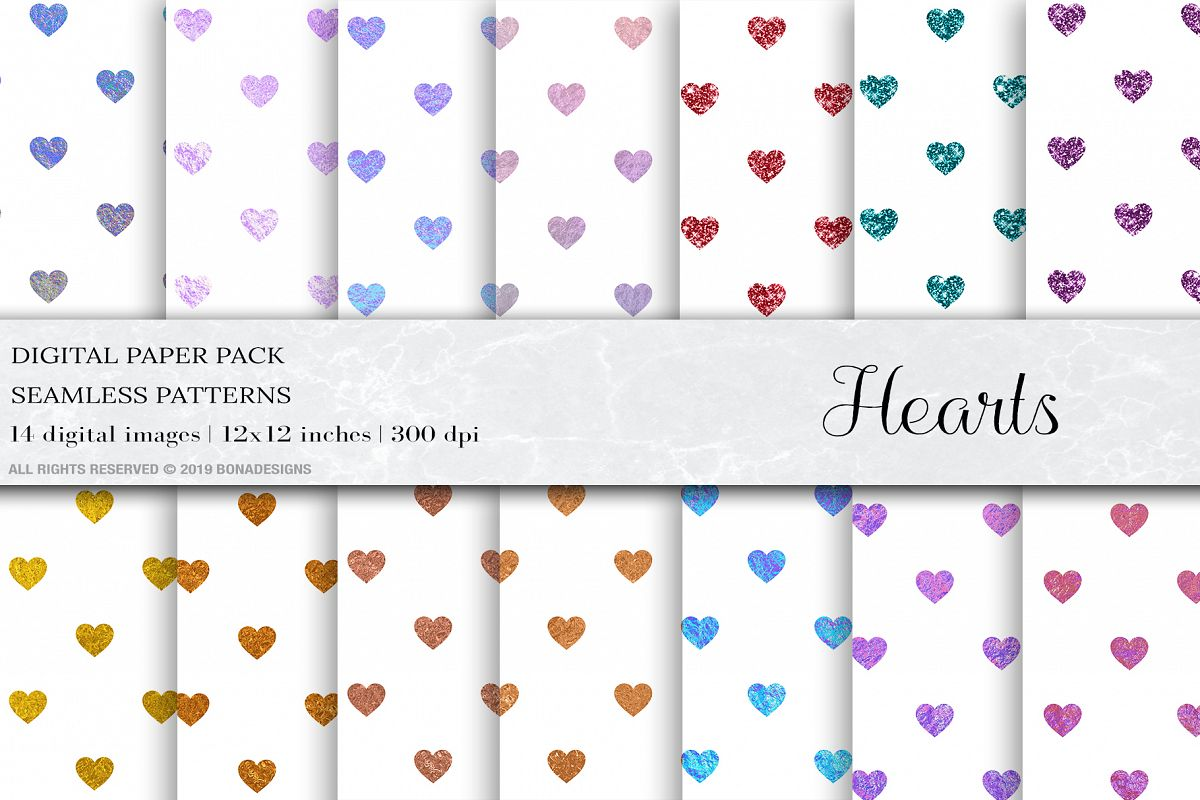 Heart Digital Papers, Heart Seamless Patterns example image 1