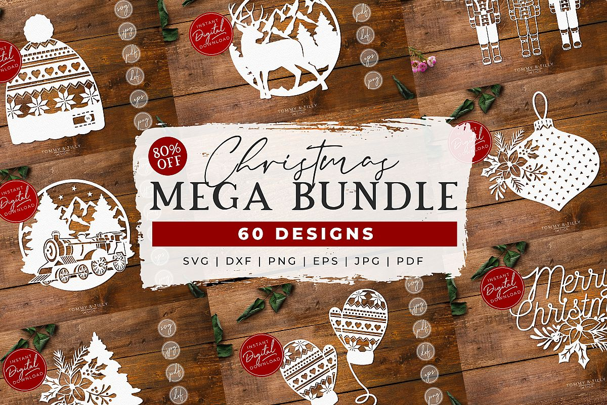 MEGA BUNDLE! 60 Christmas Cut Files - SVG | Papercut example image 1