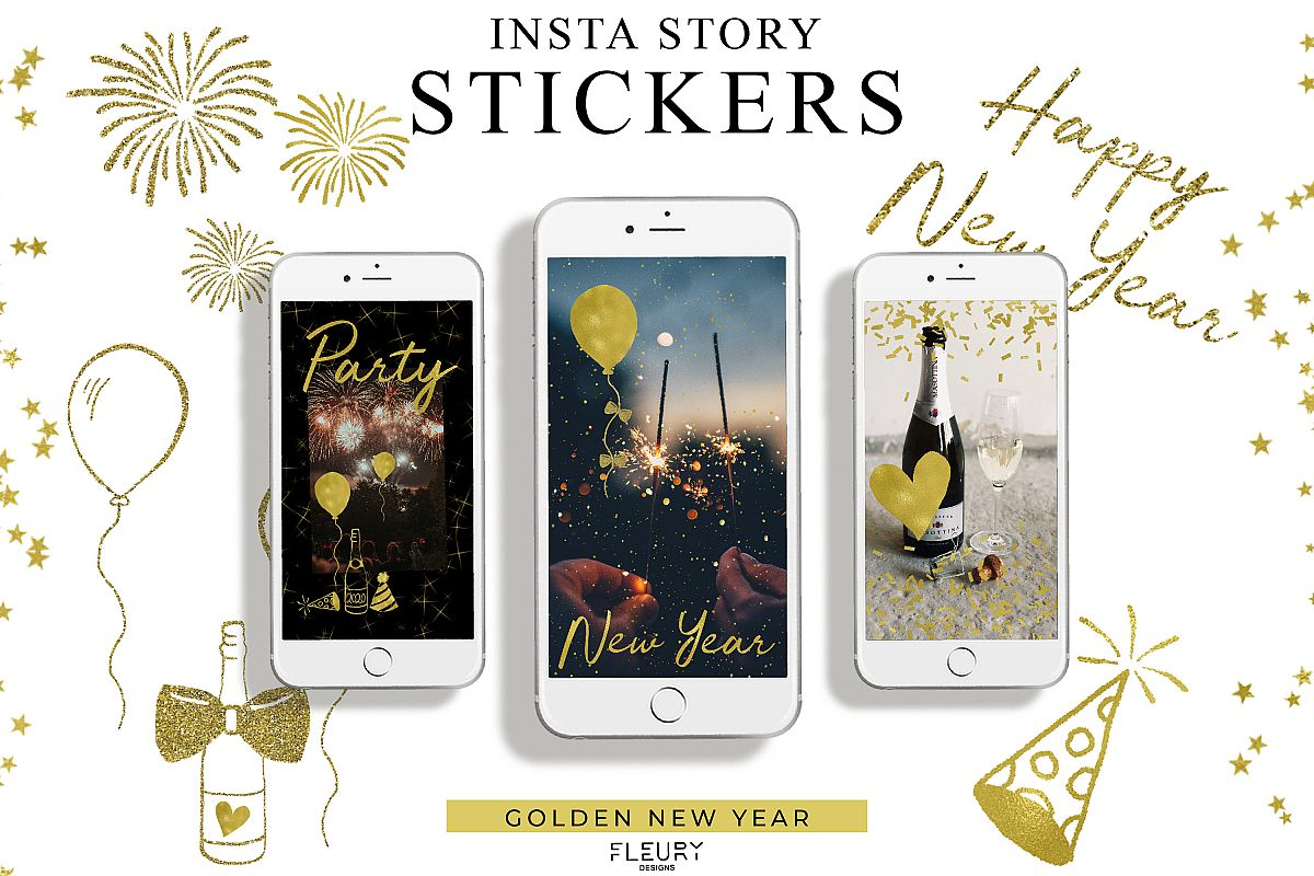 Instagram Story Stickers - Golden New Year example image 1