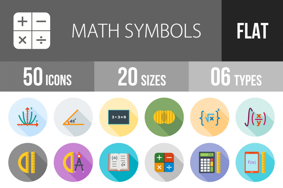 50 Math Symbols Flat Long Shadow Icons