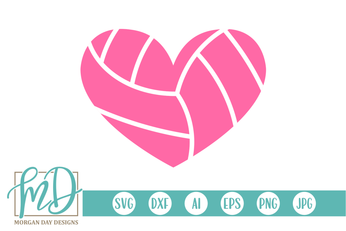Volleyball Heart SVG, DXF, AI, EPS, PNG, JPEG example image 1