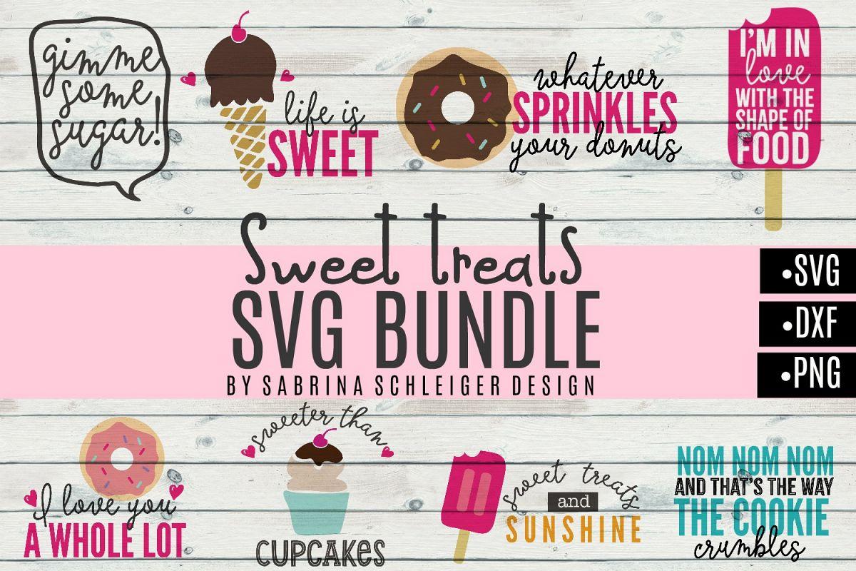 Sweet Treats SVG Bundle- Donut Cupcake Icecream Designs example image 1