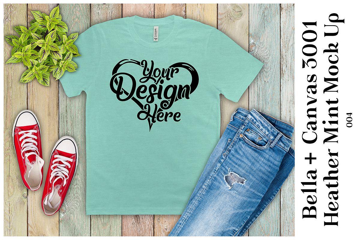 Mens T-Shirt Mockup Heather Mint Bella Canvas 3001 Mock up example image 1