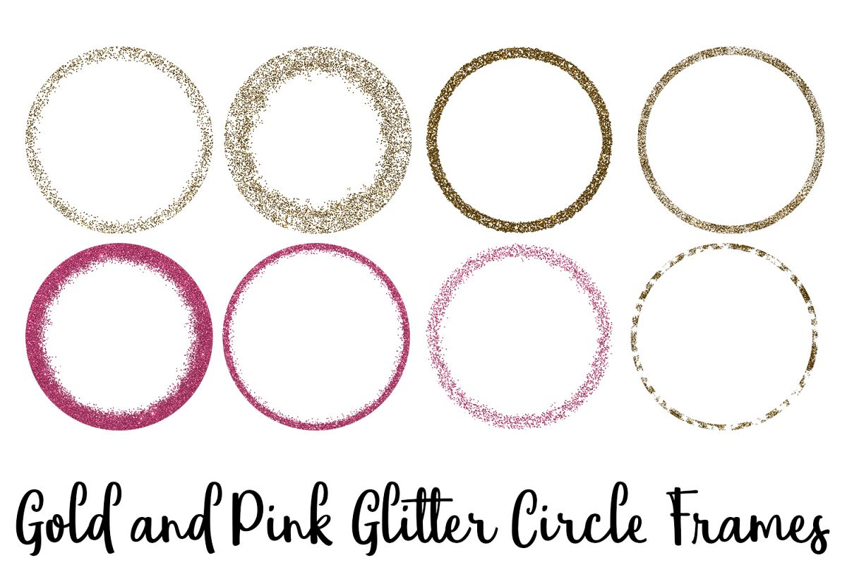Gold and Pink Glitter Circle Frames Clip Art