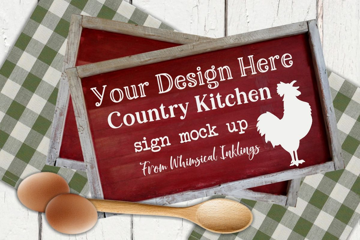 Country Kitchen Sign Mock Up example image 1
