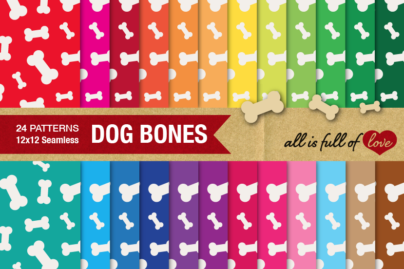 Dog Bones Digital Paper Doggy Bone Background Patterns for print or web example image 1