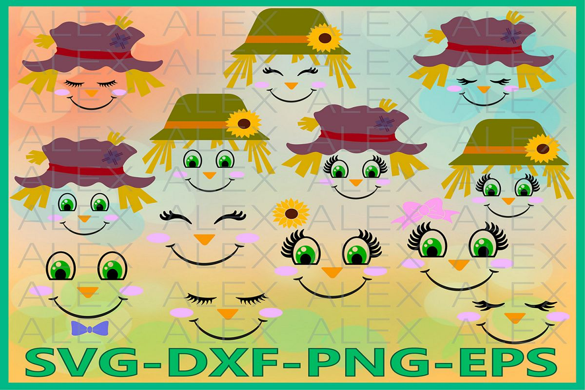 Scarecrow Face svg, Scarecrow SVG, Halloween Svg File example image 1