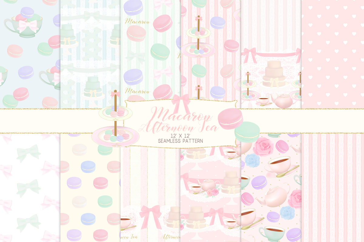 Macaron Afternoon Tea party Pattern Digital Papers example image 1