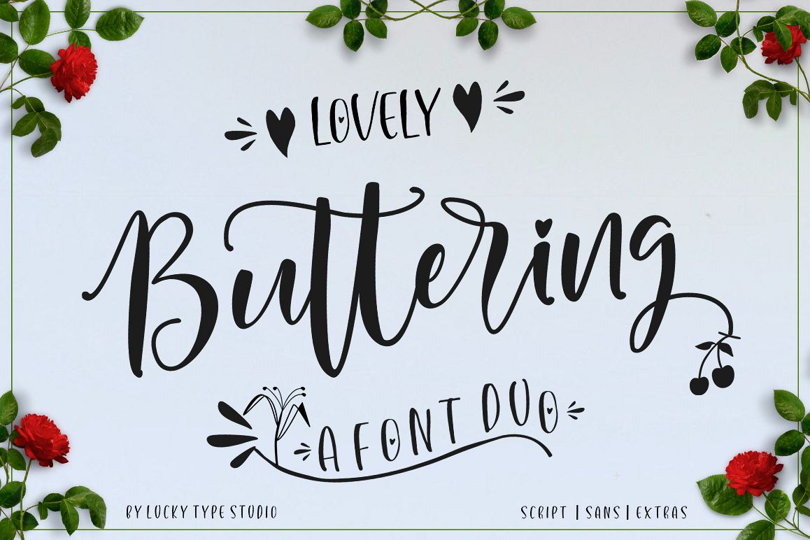Lovely Buttering Font Duo & Extras example image 1