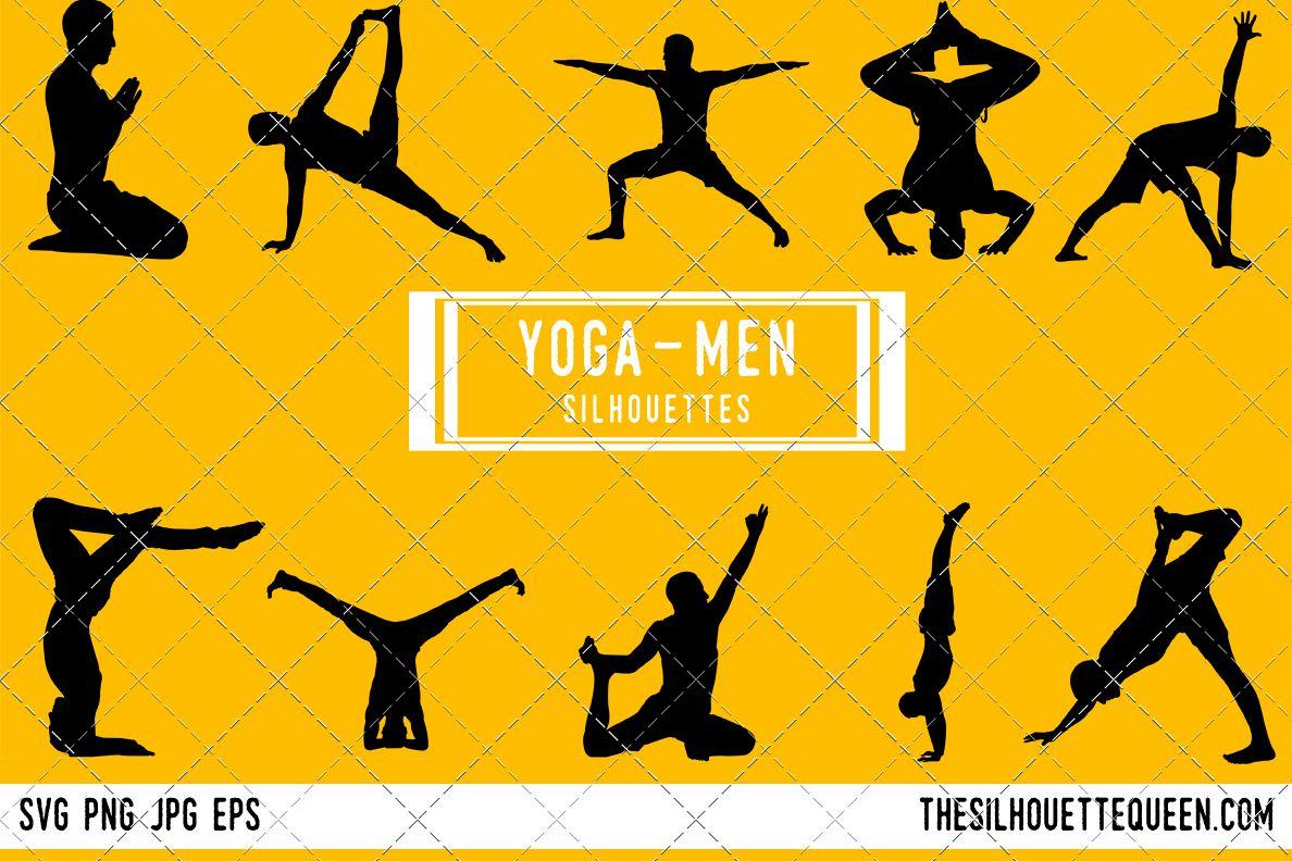 Man Yoga Silhouette Male Poses Clipart Boy Sports Vector Boys Svg