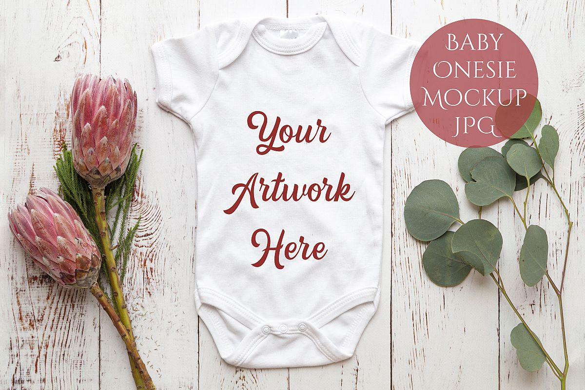 Onesie, Infant bodysuit Mockup example image 1