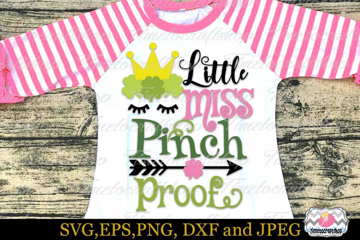 SVG, DXF, PNG St Patrick's Day Little Miss Pinch Proof example image 1