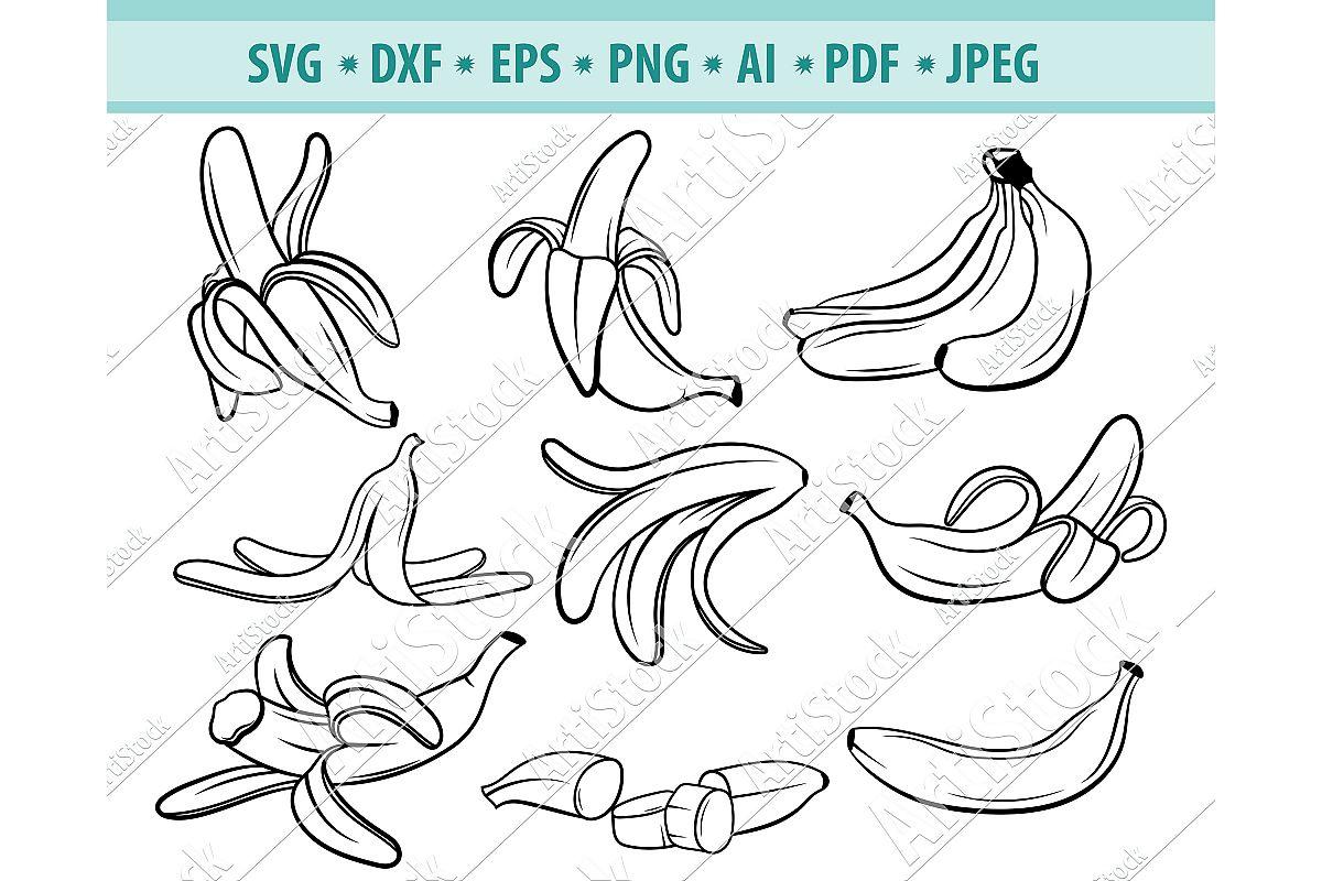 Banana SVG, Banana Clipart Svg, Banana Vector, Dxf, Png, Eps example image 1