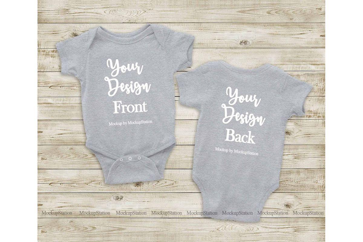 Heather Grey Front & Back Baby Bodysuit Mockup, Toddler Mock example image 1
