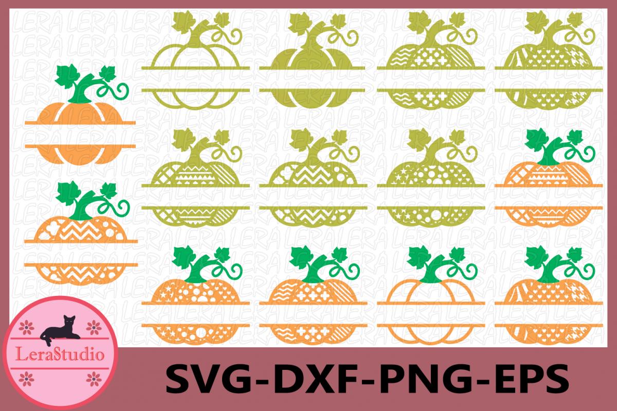 Pumpkin Split Monogram SVG, Halloween Pumpkin SVG, Pattern example image 1