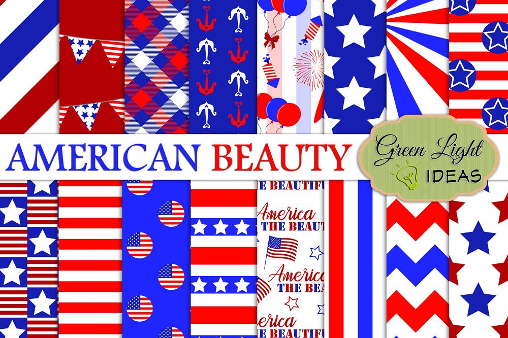 4th Of July Digital Papers, Independence Day Backgrounds example image 1