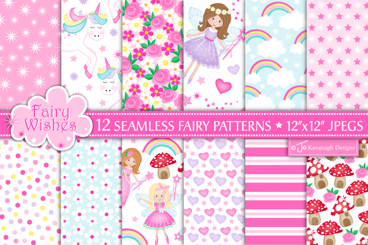 Fairy digital papers, Unicorn patterns, Fairies -P10 example image 1
