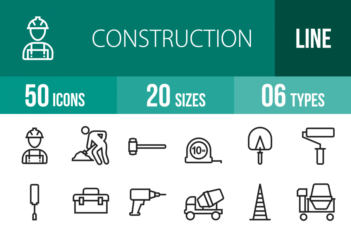 50 Construction Line Icons example image 1