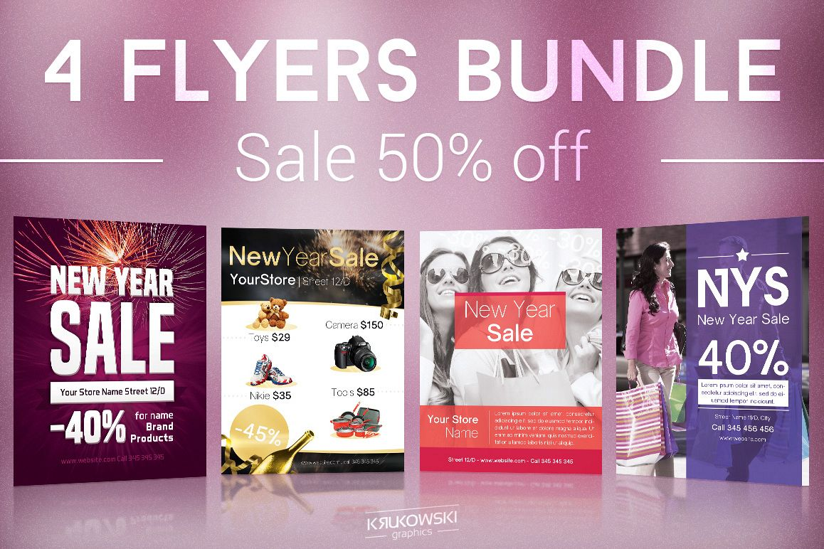 New Year Sale Flyers Bundle example image 1