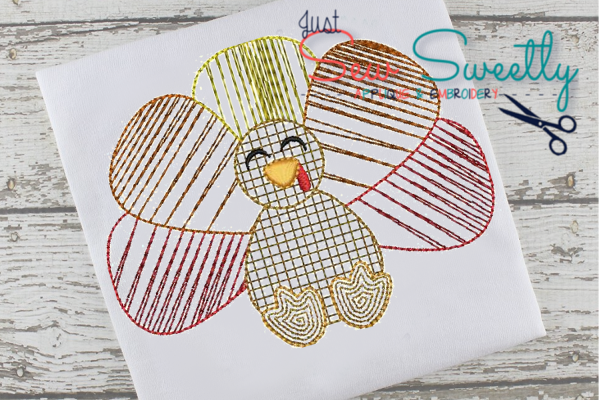 Thanksgiving Turkey Sketch Applique Embroidery Design example image 1