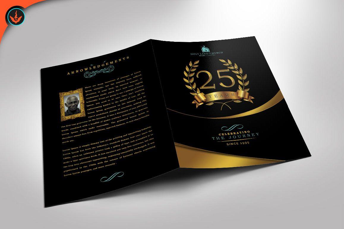 Gold Black Plus Teal Anniversary Program Publisher Template