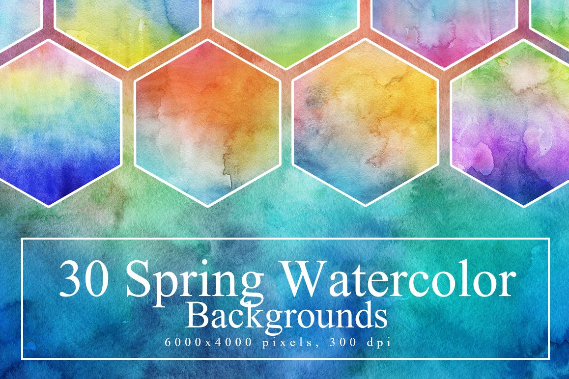30 Hand Made Watercolor Backgrounds example image 1