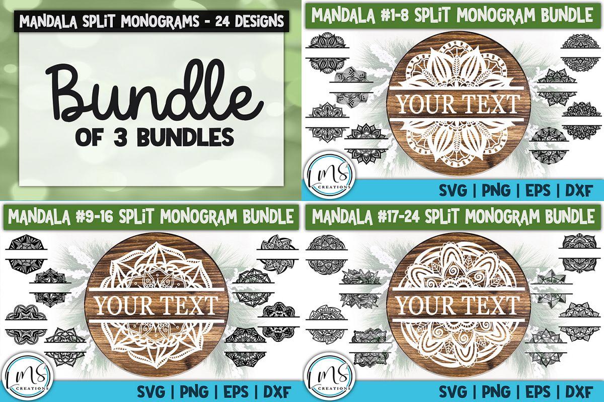 Split Mandala 1-24 Split Monogram Bundle SVG, PNG, EPS, DXF example image 1