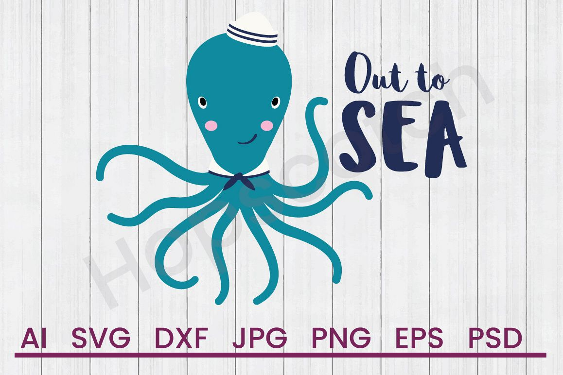 Octopus SVG, Out To Sea SVG, DXF File, Cuttatable File example image 1