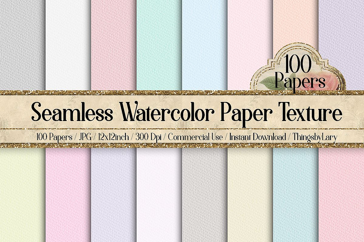 100 Seamless Watercolor Paper Rough Texture Digital Papers