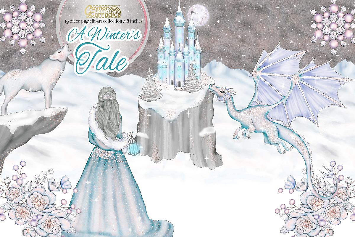 A Winters Tale- Ice Princess Fairy tale Clipart example image 1