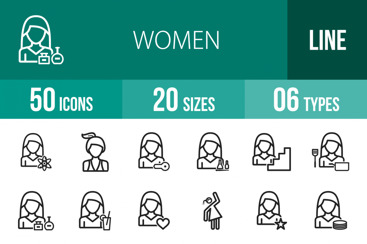 50 Women Line Icons example image 1