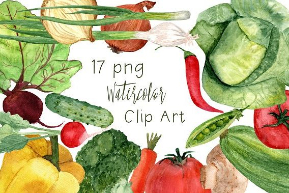 17 Watercolor Vegetables Clip Art example image 1