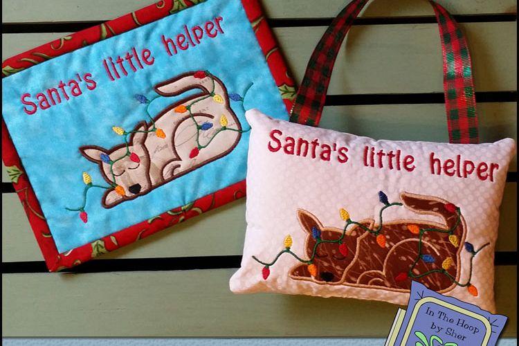 Dog & Lights Christmas Mug Rug or