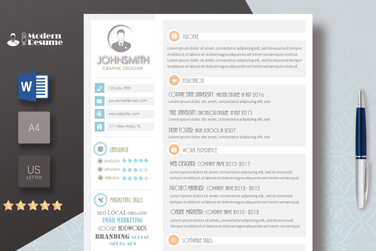 Resume Template May 2018 Update Template Cv Template 1 Page Clean Resume Professional Template For Word 100 Customizable