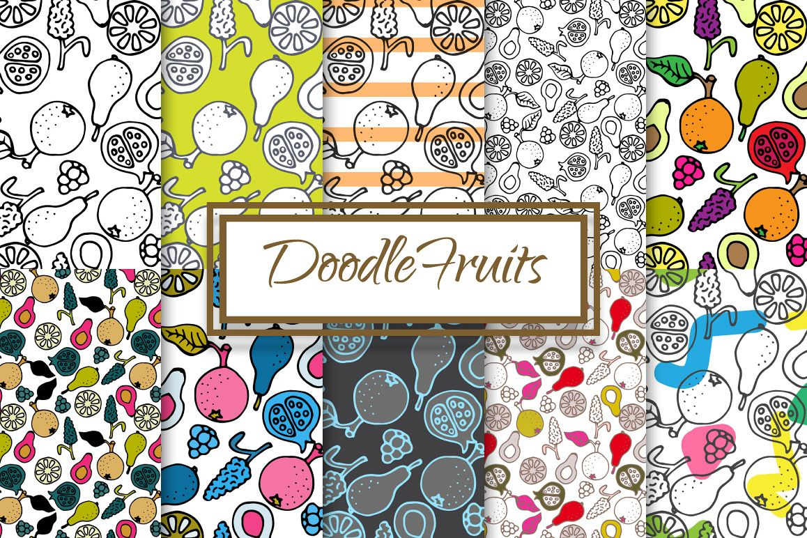 Hand-drawn ink Doodle Fruit Patterns example image 1