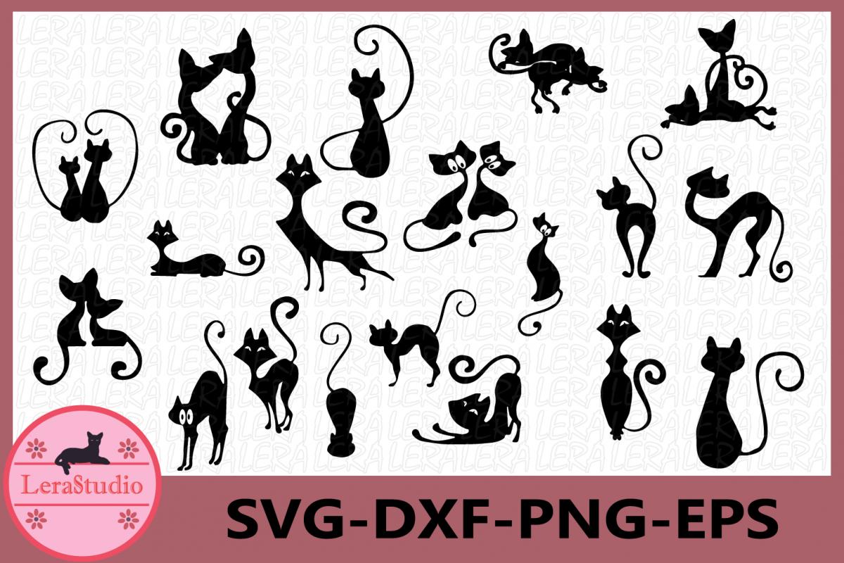 Cat black Svg, Cat Clipart, Animals Silhouettes, Cat svg example image 1