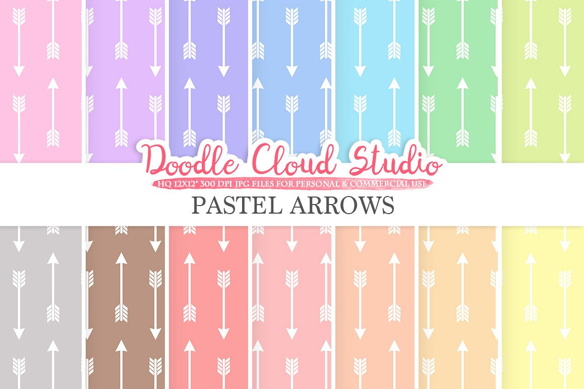 Pastel Arrows digital paper, Tribal Arrows patterns, Digital arrows pastel colors background, Instant Download for Personal & Commercial Use example image 1