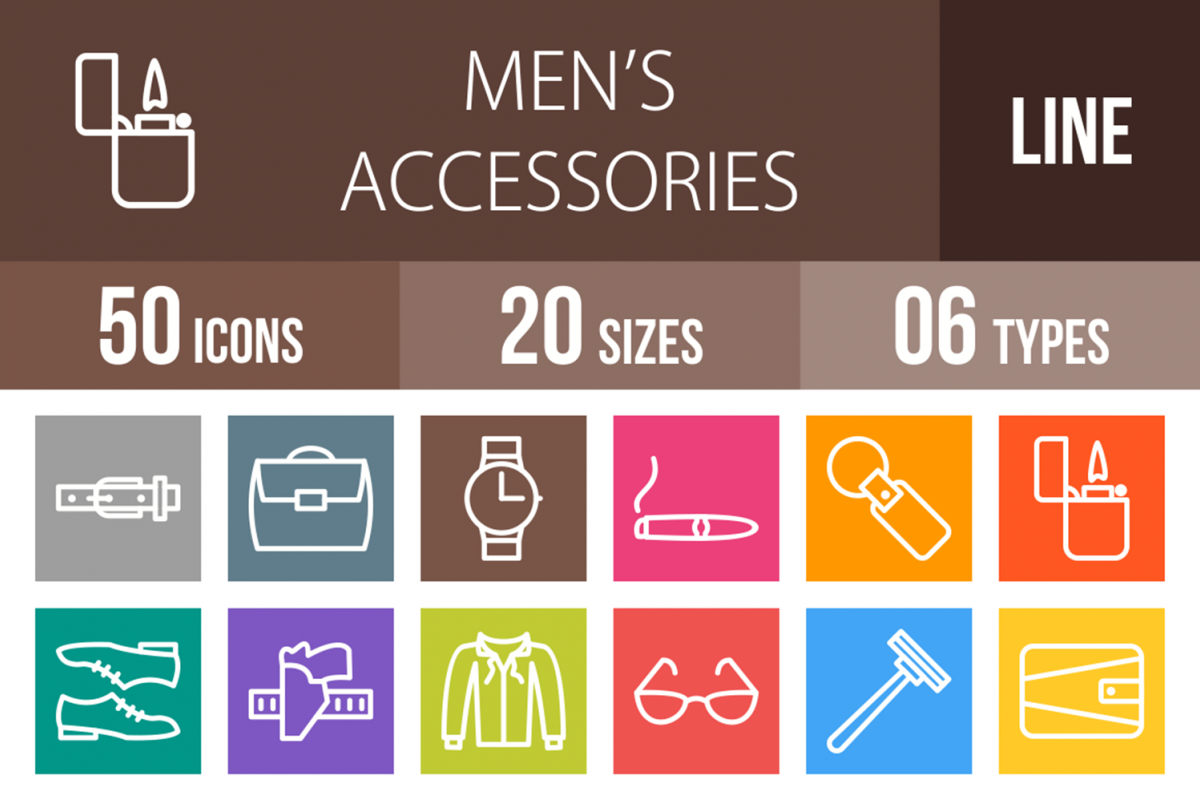 50 Men's Accessories Line Multicolor B/G Icons example image 1
