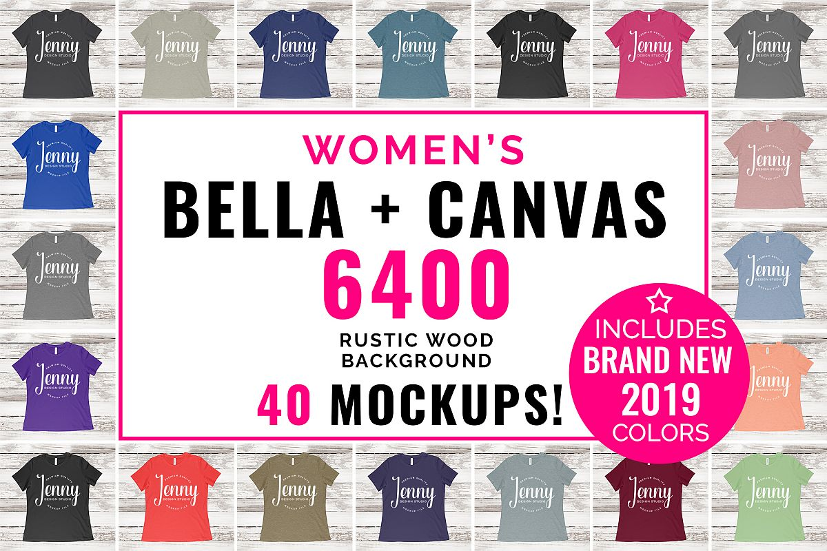 Bella Canvas 6400 Mockup Bundle, Womens T-Shirt, 40 Mockups example image 1