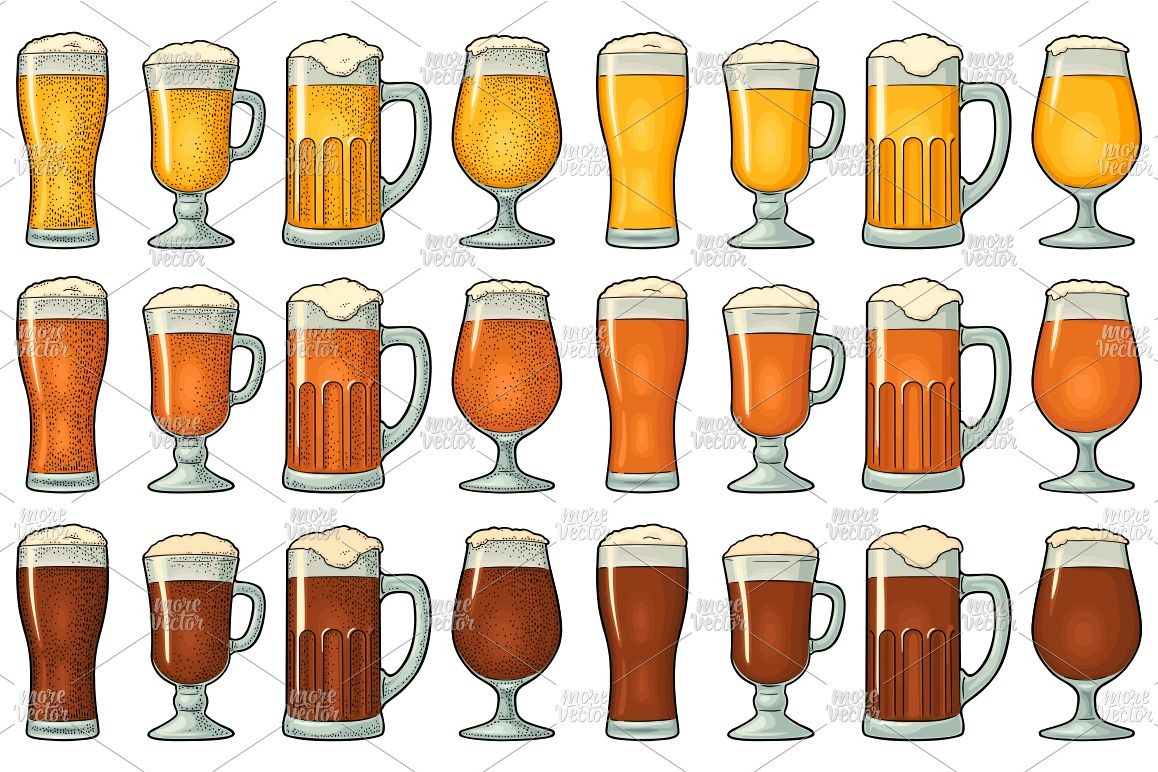 Four different glasses with three types beer engraving example image 1
