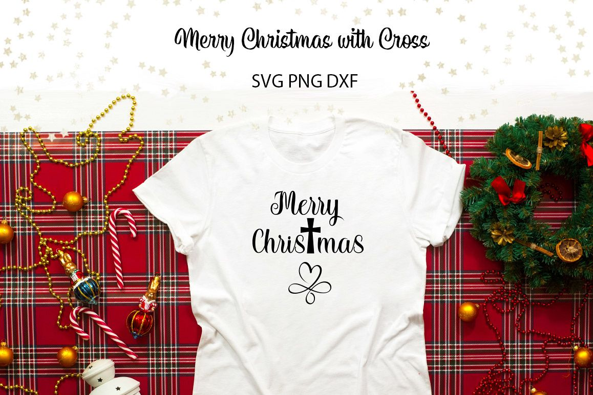 Merry Christmas with Cross SVG Cut File for Crafters example image 1