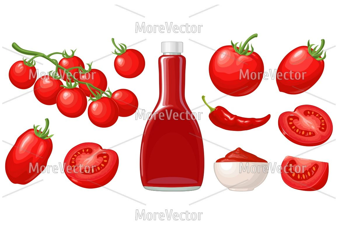 Ketchup bottle, chilli, tomato sauce in a plate, branch, half and slice and slice tomatoes.  example image 1