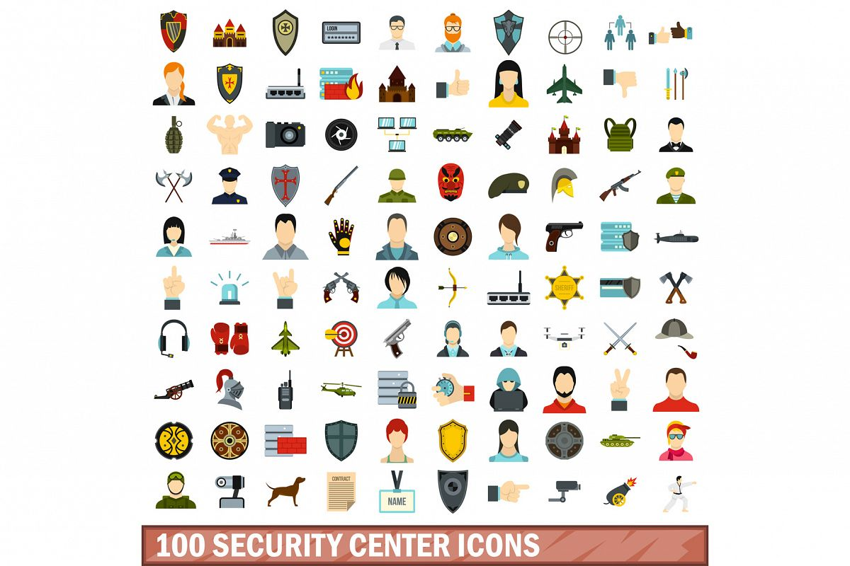 100 security center icons set, flat style example image 1