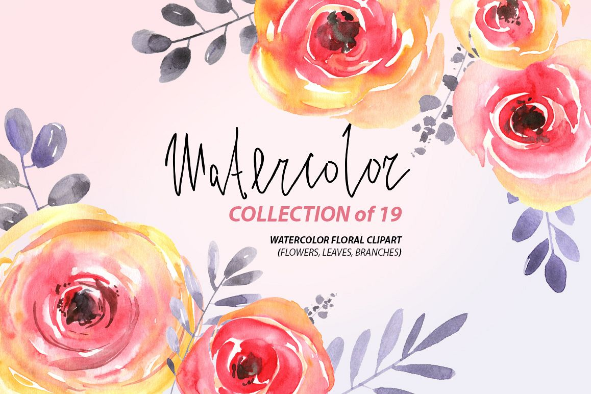Watercolor Red Yellow Flowers Png