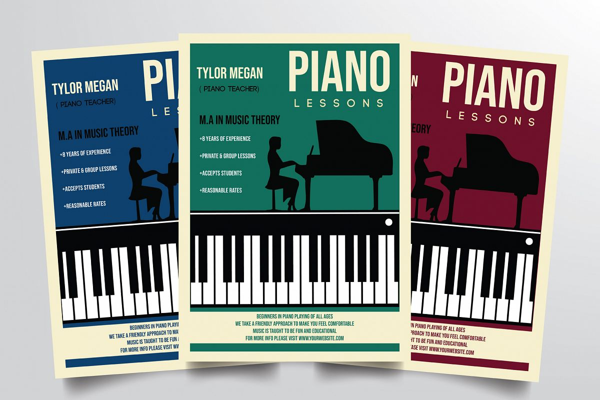 Piano Course Flyer Template example image 1
