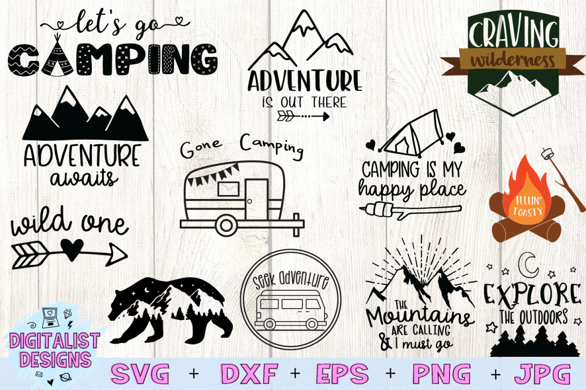 Happy Camper SVG Bundle, 12 Camping SVG Designs example image 1