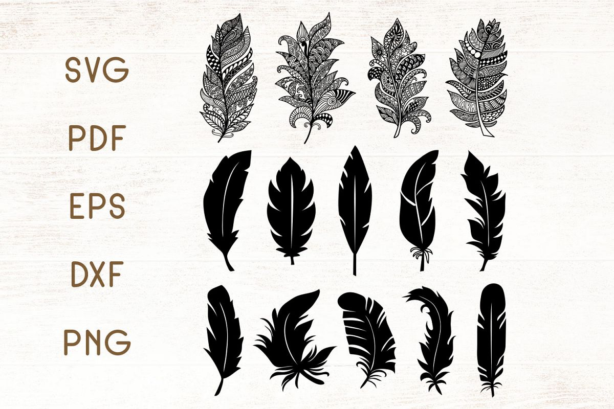 Floral Zentangle Feathers - Feathers SVG - Vector example image 1