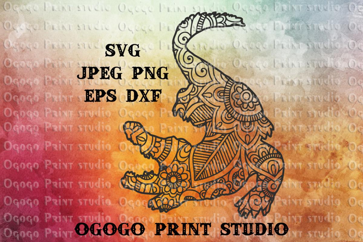 Alligator SVG, Zentangle SVG, Gator SVG, Mandala svg example image 1